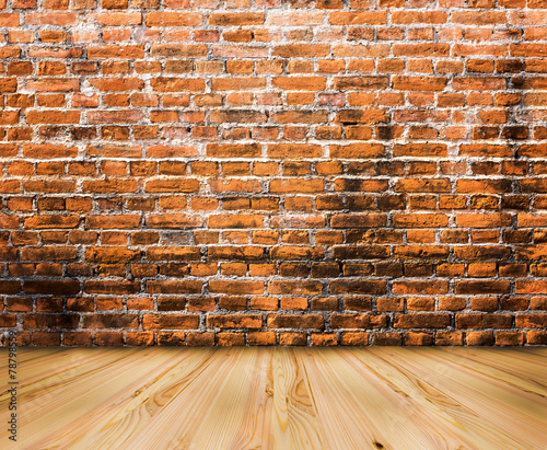 wood floor with old brick wall background