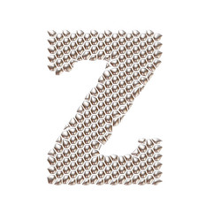 3D letter Z dots pattern in silver on isolated white