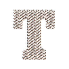3D letter T dots pattern in silver on isolated white