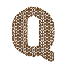 3D Alphabet Q in Golden dots on isolated white background.