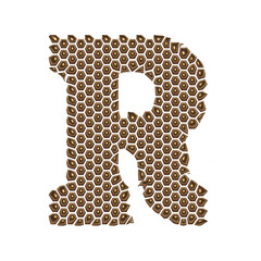 3D Alphabet R in Golden dots on isolated white background.