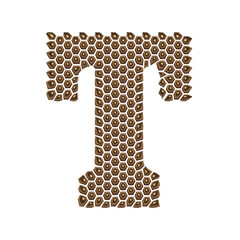 3D Alphabet T in Golden dots on isolated white background.