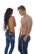 Image of hot topless models advertises jeans