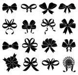 Ribbon bow icons set