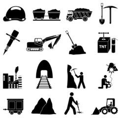 Mining construction icons set