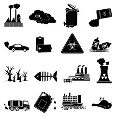 environment pollution icons set