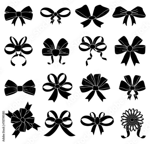 Ribbon bow icons set - 78799580