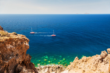 Beautiful view of the seacoast on Santorini island, Greece