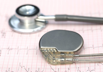 Electrocardiograph with stethoscope and pacemaker