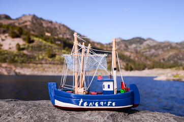 Blue Fishing Boat Figurine