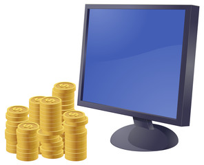 Computer monitor with US dollar coins