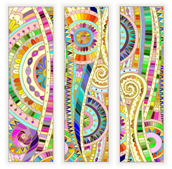 Set of  doodle ethnic cards on wood background.