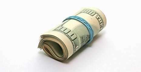 rollback 100 dollar bills on white background