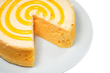 Sponge cake on white plate