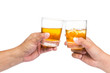 Two hands toasting whiskey on the rock with white background - 78802575