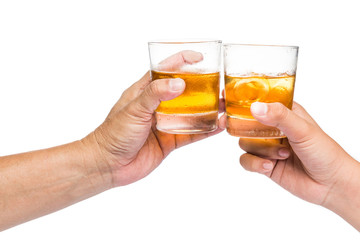 Two hands toasting whiskey on the rock with white background