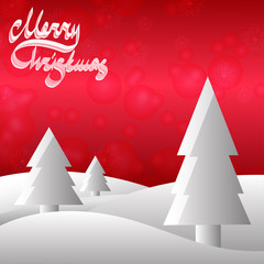 Xmas red background with grey christmas trees.
