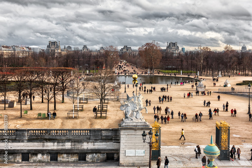 Aerial view of the Tuileries Gardens in Paris, located between t - 78803119