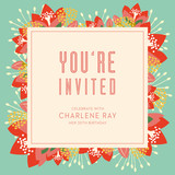 Birthday invitation card with text and floral background.
