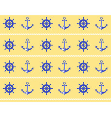 Seamless sea pattern. Blue wheel and stern anchor on yellow back