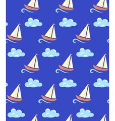 Seamless sea pattern. Yacht on light blue wave and light blue cl