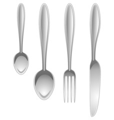 Silver kitchen table utensils isolated on white background
