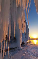 Baikal Lake. February sunset