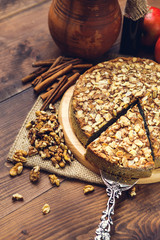 Homemade pie with poppy seeds and almond flakes