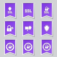 Protection Web Internet Label Vector Violet Icon Design Set