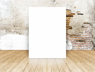 White Blank Poster in crack brick wall and concrete floor room,T