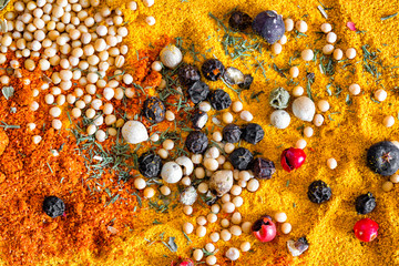 Colorful spices in an abstract arrangement. Close up texture and