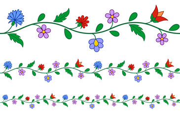 Horizontally seamless Hungarian embroidery pattern