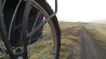 Bicycle wheel, rear view .POV clip