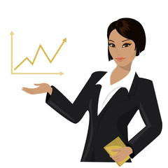 asian business woman pointing to  business trends