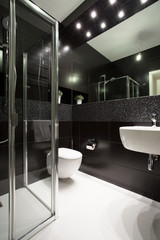 Dark interior in bathroom