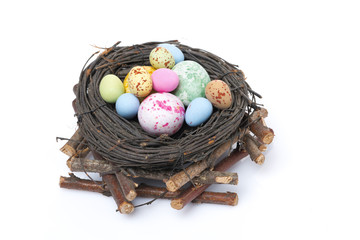 nest with easter eggs, isolated, top view