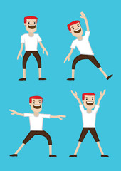 Cartoon Man Warm-up Stretching Exercises