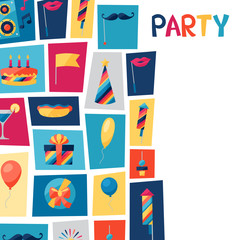 Celebration background with party icons and objects.
