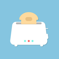 white toaster with shadow isolated on blue background
