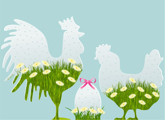 Floral Easter decorations with cock, hen and egg