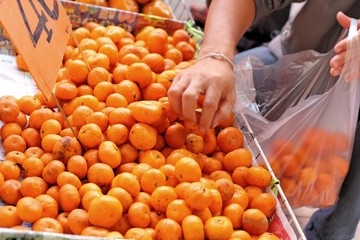 Oranges fruits at the market