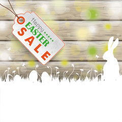 Easter Card Rabbit Wood Price Sticker