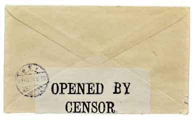 Wartime letter opened by censor