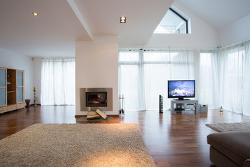 Cozy living room with large windows and fireplace