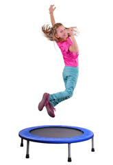 pretty girl exercising and jumping on a trampoline