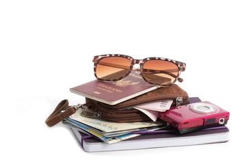 Preparation for travel, pocket money, passport, road map,camera