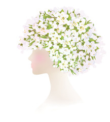 Vector beautiful  woman with  spring flowers on head.