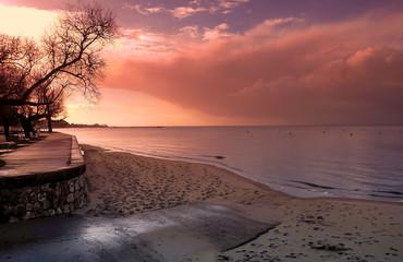Andernos-les-bains plage, bassin d'Arcachon, France, le matin