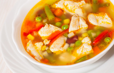 chicken soup with fresh vegetables
