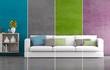 Leinwanddruck Bild - Collage Wohnraumfarben